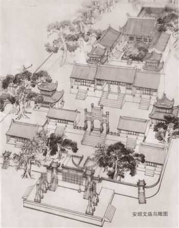 安顺文庙鸟瞰图(郭秉红绘)